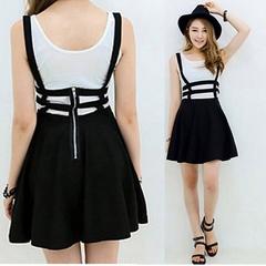 2019 Retro Hollow Mini Skater Cute Women Suspender Clothes Straps High Waist Skirt black average