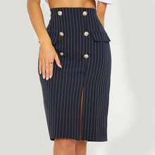 Women Zipper Stripe Female Button Side Split Party Slit High Waist Bodycon Knee-Length Office black s