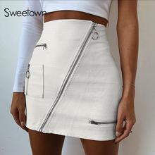 Sweetown White Korean Style Skirts Womens Street Style A Line Skirt Summer 2018 High Waist Vogue white s
