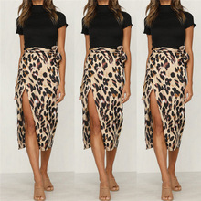 Women Leopard Print High Waist Skirt With Sashes 2018 New Lady Sexy Fashion Office Work picture s
