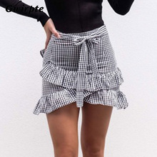 Gwirpte Lace up plaid short skirt women Ruffle high waist bow tie A-line skirts female bottom picture s