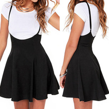 Summer Fashion Women Ladies Mini Skirt Preppy Style High Waist Pure Color Stretch Flared Skater black s