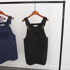 New Summer Women Corduroy Suspender Overall Vest Jumpsuit Braces Skirt Suspender skirts Preppy black average