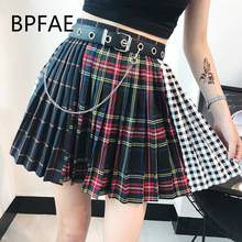 2018 New Arrival Summer Autum Harajuku Gothic Multicolor Plaid Pleaded Skirts Punk Hip picture s
