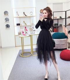 2019 summer shining fluffy women skirts gauze irregular skirt gold stamp Sexy Midi Tulle black m