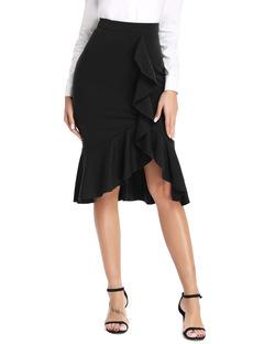Pencil Skirts Womens 2018 New Sexy Ruffles Skirt Wear to Business Work Office High Waist Casual black s