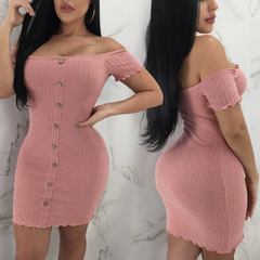 SHEIN Grey Single Breasted Rib-Knit Ladies Bodycon Dress Summer Minimalist Women Going Out Sexy s pink