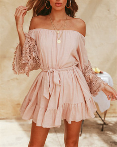 Simplee Elegant off shoulder women short dresses Pleated flare sleeve embroidery mint green s pink