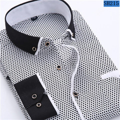 2018 Men Fashion Casual Long Sleeved Printed shirt Slim Fit Male Social Business Dress 1 s