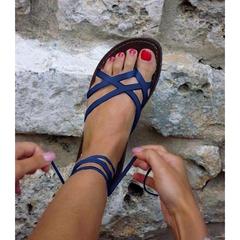 2018 Women Sandals Flat With Shoes Bandage Bohemia Leisure Lady Sandals Peep-Toe Outdoor women blue 35