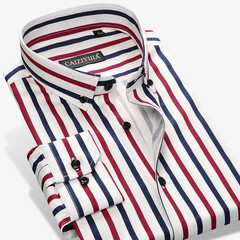 2017 New Fashion Designer Contrast Multi-Striped Casual Men Shirts Slim Fit Comfort Soft Button-down 1 39