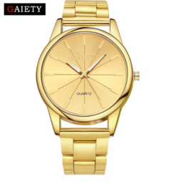 Fashion Gold Silver Quartz Bracelet Watch WomenMenReloj Mujer Luxury Full Stainless Steel gold one size
