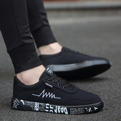 New 2018 Spring Summer Canvas Shoes Men Sneakers Low top Black Shoes Men's Casual Shoes black 39