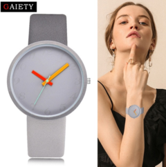Women Watch Gray Contrast Leather Quartz Watch Women Watches Lovers Unisex Casual black one size