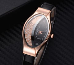 Women Fashion Luxury Watch Leather Strap Women Bracelet Clock Ellipse Rhinestone PU beige one size