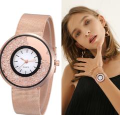 New Fashion Stainless Steel Gold & Silver Band Quartz Watch Luxury Women Rhinestone gold one size