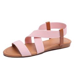 2019 Fashion Spring Women Shoes Roman Sandals Cross Tied Shoes Women Retro Sandals Beach Flat pink 35
