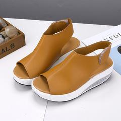 Women Sandals Soft Leather Sandals Women Casual Summer Shoes Female Flat Sandals Zip Plus Size brown 35