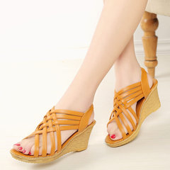 YOUYEDIAN Woman High Platforms Cut Outs Pattern Checkered Belt Gladiator Sandal Shoes zapatos brown 35