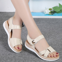 Dropshipping 2018 New Summer Women Sandals Flat Shoes Woman Comfortable Casual Hook beige 35