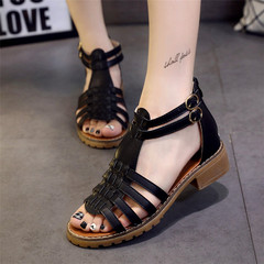 YOUYEDIAN Woman High Platforms Cut Outs Pattern Checkered Belt Gladiator Sandal Shoes zapatos black 35