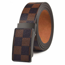 SONOR Brand Metal Automatic Buckle Checkered Pattern Leather Luxury Unbroken Wholesale brown 110cm