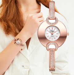 Lvpai Top Brand Women's Watches Fashion Bracelet Rhinestone Quartz Watches Luxury Dress gold white one size