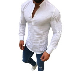 NIBESSER Men Vintage Shirt Casual Solid Linen Mens Clothing Fashion Long Sleeve V Neck white m