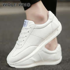 WOLF WHO Classic White Sneakers Men Casual Leather Shoes Male Lace-Up Flats Trainers Fashion white 37