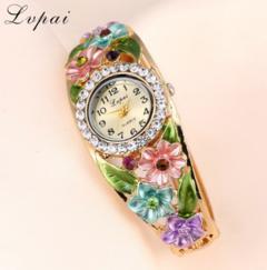 Lvpai Brand Quartz Watch Women Luxury Gold Plated Flower Bracelet Wristwatch gold one size