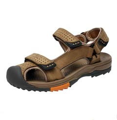 Cow Leather Sandals Men Summer High Quality Beach Sneaker Sandal Genuine Leather Gladiator khaki 43
