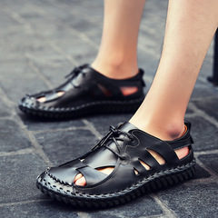 Summer Shoes Men Sandals Comfortable Split Leather Casual Shoes For Male Lace-up New Sandals 2019 black 38