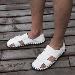 2019 Super Light Sandals Summer Men Fashion Breathable Slip-on Flats Slippers Male Comfortable white 38