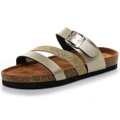 New Fashion Summer Slippers Mens Gladiator Sandals Open Toe Platform Beach Sandals Super Light gold 36