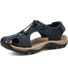2019 New Summer Sandals for Men Leather Casual Slippers Non-slip Hiking Sandals Men Flip blue 38