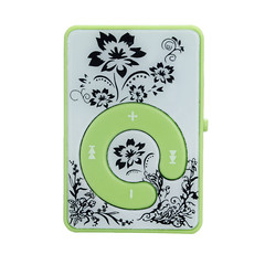AIKEGLOBAL Hifi Mini Clip Flower Pattern MP3 Player Music Media Support Micro SD TF Card green