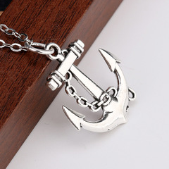 WYSIWYG 30x27mm Anchor Pendant Leather Chain Necklace, Vintage Men Necklace Jewelry silver one size