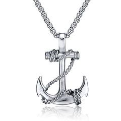 OBSEDE Punk Men Titanium Steel Pendants Chain Anchor Necklace Cross Men Women Stainless silver one size