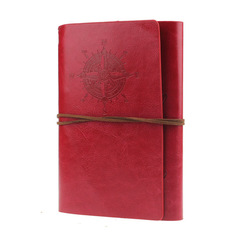 Spiral Notebook Diary Notepad Vintage Pirate Anchors PU Leather Note Book Replaceable Stationery red one size