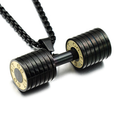 HIP Men Gold Color Titanium Stainless Steel GO FIT Dumbbell Gym Fitness Barbell Pendant black one size