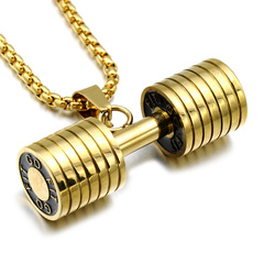 HIP Men Gold Color Titanium Stainless Steel GO FIT Dumbbell Gym Fitness Barbell Pendant gold one size
