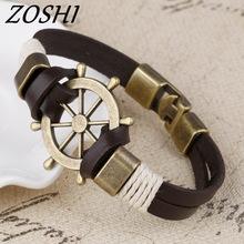 ZOSHI Wholesale Cuff braided Wrap Bracelet & Bangles Men Jewelry Pirate Genuine Leather 1 one size