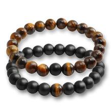2 Pcs/set Fashion Couple Tiger Eye Stone Bracelets Bangles Classic Black White Natural Lava Stones 1 one size