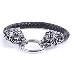 2018 New Arrival Men Stainless Steel Leather Bracelets Men Jewelry Male Wolf Head Charms Bracelets silver one size