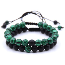 KANGKANG 2 pieces/Set 8mm Natural stone Beads men bracelets Weave charm Couple picture color one size