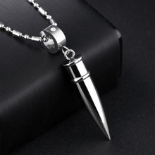 Jiayiqi 2017 Fashion Men's Stainless Steel Bullet Pendant Link Chain Necklace For Men Jewelry silver one size