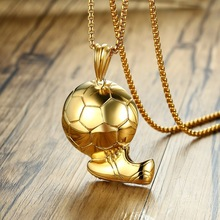 Shoe with Soccer in Gold Tone Pendant Necklace for Men Stainless Steel Male Jewelry Football gold one size