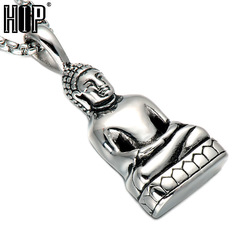 Mens Buddha Pendant Necklace Bodhisattva Amulet Talisman Necklaces in Gold-color Stainless silver one size