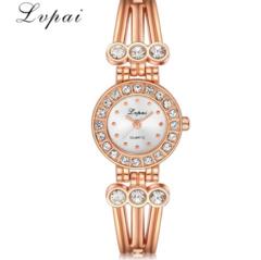 Lvpai Brand Women Fashion Luxury Watch Rose Gold Ladies Quartz Wristwatch silver white one size