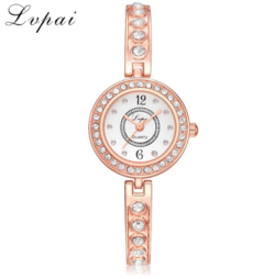 Lvpai Brand Bracelet Watches For Women Luxury Fashion Quartz Ladies Stainless Steel Watch silver white one size